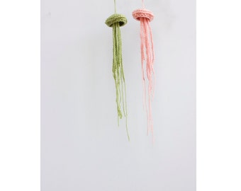Two Jellyfish,  Hand Crocheted amigurumi, Sea Creature, Chose Color,  Jelly Fish Nautical Decor, Cottage Chic Decor