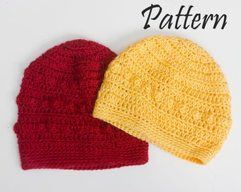 Two  Crochet Beanie Patterns, Instant Download, Hat PDF Pattern, Slouchy Beanie Pattern, Crochet Clouch