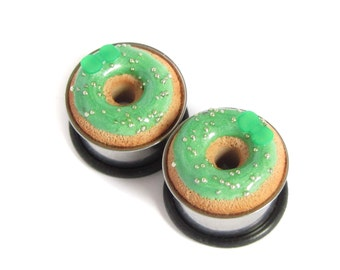 "5/8"" Donut Eyelets - Metallic Green Donut Plugs - SALE"