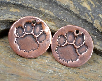 Handmade Paw Print Rounds in Copper Earring Charms (1) one pair