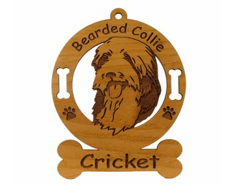1558 Bearded Collie Head Personalized Ornament