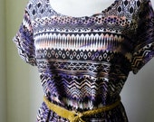 Vintage Aztec Dress / Aztec Navajo Long Length Patterned Dress / Bohemian Dress....
