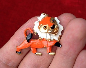 Lion Anime Orange Enameled Pin