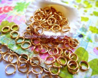 Special Sale  gold  4mm open  wire jump rings -Round gold Connector-open rings-Spacer beads ring-hippie beads-Jewelry findings-diy jewelry