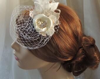 Bridal Birdcage Veil, Wedding Veil, 5 Inch Birdcage Veil, Bridal facisinator with Veil, Lace Birdcage Veil