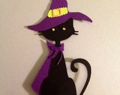 "12 Halloween CAT CUPCAKE TOPPERS 7 1/2"" tall of paper pieced die cut card stock"