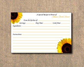 Sunflower Recipe Card,4x6, PRINTABLE, Shower Recipe Card, Recipe Card