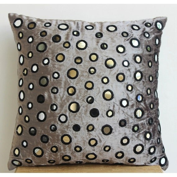 Decorative Euro Sham Covers 26x26 Silver Gray by TheHomeCentric