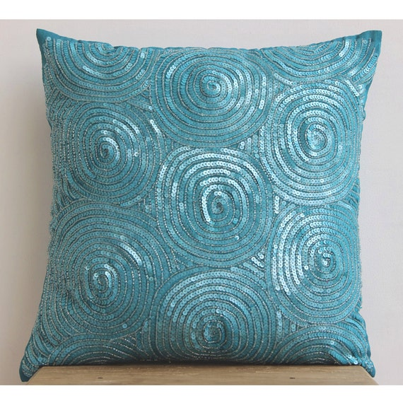 thehomecentric - Decorative Throw Pillow Covers Accent Pillow Couch Sofa Toss 26 x 26 Blue Silk ...