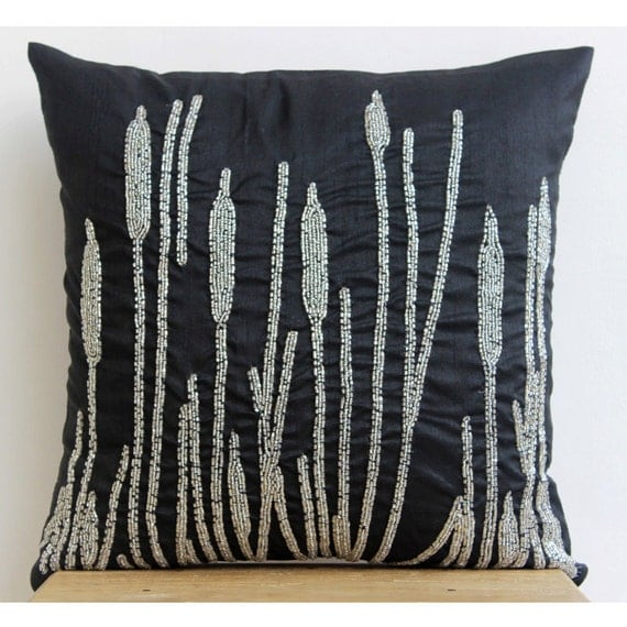 Handmade Black Decorative Pillow Cover Beaded Millet Grass