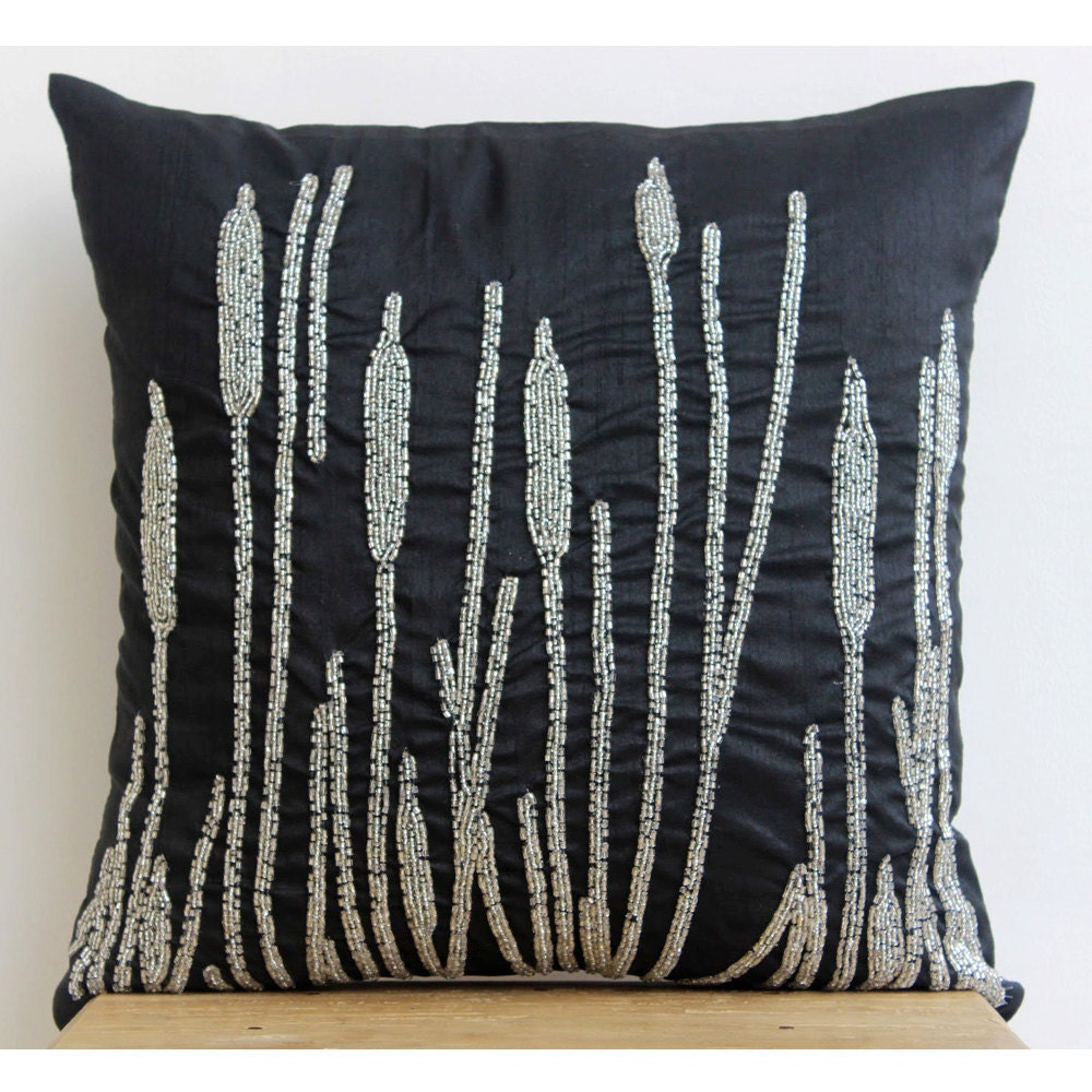 Couch Pillows: Decorative Pillow Sham Cover 24x24 Black Silk Couch Sofa Toss