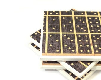 Tile Coasters - Dominoes - Set of 4 (Black and Beige)