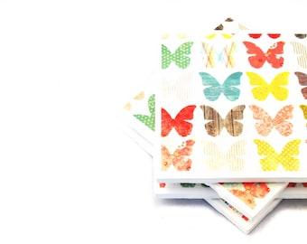 Coasters - Rainbow Butterflies - Set of 4 Ceramic Tiles