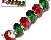 MERZIEs 6 silver faceted acrylic European charm chain spacer beads - red green