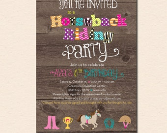 Horseback Riding Birthday Party Invitation - (Digital File - Printed Cards Also Available)