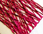 Cranberry Red Crushed Chenille Ribbon- silky vintage style velveteen trimming, wedding party crafts, doll miniature crafting- 15 yds