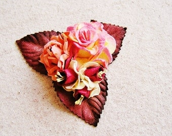 Strawberry Buttercream, Merlot, Apricot Mixed bunch Vintage style Millinery Flower spray Bouquet- corsage, floral shabby chic-32514 OOAK