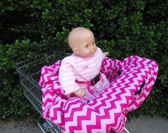 Chevron (pink / hot pink)  shopping cart cover/ high chair cover