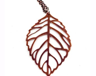 Copper Leaf Charm Necklace