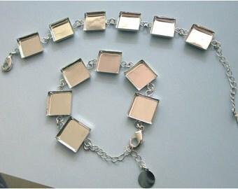 2  Silver Or Antiqued Brass Color Bracelet  Blanks For 16mm Square Cabochon