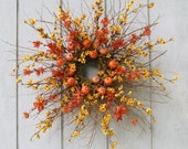 Fall Twig Wreath - Thanksgiving Wreath - Pumpkin Wreath - Dried Mulberry - AUTUMN STAR