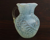 Antique Beaumont Glass Pitcher, White Opalescent Fern, Large Water Lemonade size, collectible American glassware