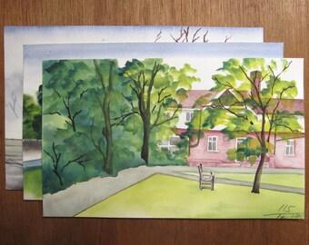 SALE - 3 Original Watercolor Paintings