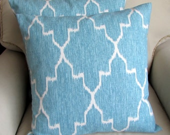 MONACO MIST blue and white Pillow Covers 20x20 PAIR inserts included