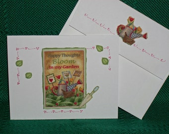 NOTECARDS--Bless my Garden with Butterlfies--Summer Flower Garden - 3
