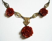 Vintage 1920s 1930s Art Deco Flapper Carved Celluloid Rose Necklace