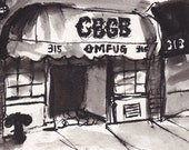 Art Pen and Ink  Sketch Drawing NYC CBGB Nightclub  Black and White Print