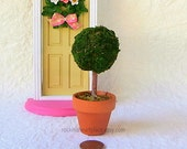 "Miniature Topiary Tree for use with Fairy Doors, Fairy Gardens or Doll Houses, 4.5"" tall"