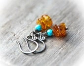 Baltic Amber and Arizona Turquoise Oxidized Sterling Silver Earrings