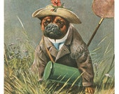 Pug dog catching butterflies dressed up for your crafty creations very vintage