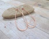 Elongated Copper Hoop Earrings,  Mixed Metal Jewelry, Copper Teardrop Earrings, Oblong Hoops