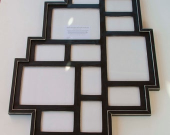 MULTI 12 Opening distressed rustic pine collage picture frame ... black....HANDMADE