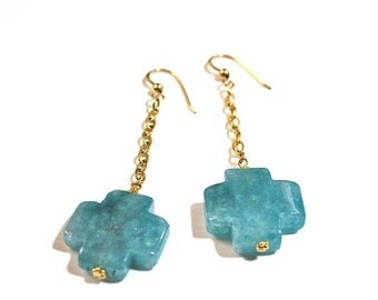Gold chain and blue agate drop earrings SOUTHERN CROSS