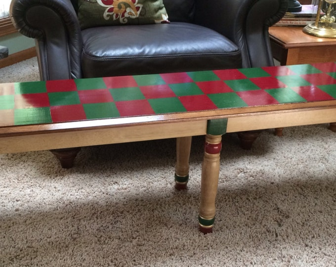 """Whimsical Painted Furniture, 60"""" wood bench custom painted sap green cranberry burgundy farm red"""