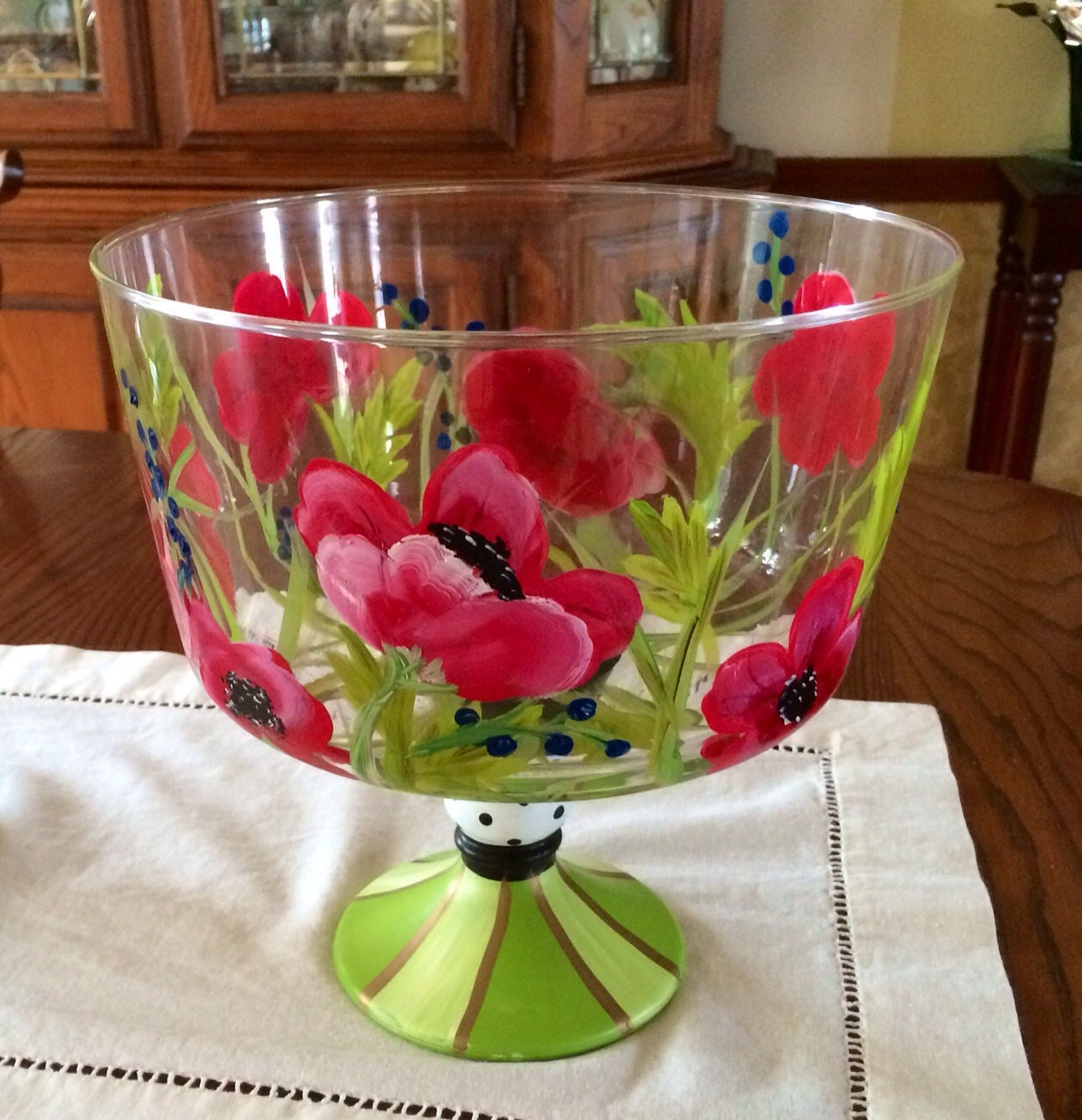 Hand painted trifle bowl punch glassware centerpiece red