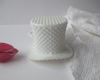 Vintage Westmoreland Milk Glass English Hobnail Top Hat Vase