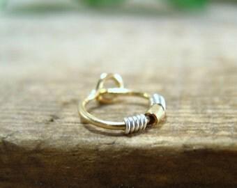 Hoop Earring Gold Split Wrap Silver Gold Bead SINGLE - Tragus Hoop, Rook Hoop, Daith Hoop, Helix Hoop, Cartilage Hoop, Ear Hoop, Beaded Hoop