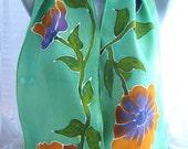 Orange/Purple Petunias with Mint Green Hand Painted Crepe de Chine Silk Scarf