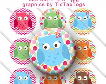 Colorful Owl Chevron Polka dot Bottle Cap Images Collage Digital Set 1 Inch Circle 4x6 - Instant Download - BC376