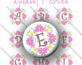 Multi-color Flower Wreath Bottle Cap Images Digital Collage 1 Inch Circles Alpha A-Z 4x6 Instant Download - BC325