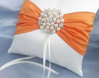 Orange Ivory Ring Bearer Pillow Wedding Pillow Pearl Rhinestone Accent