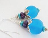Kingman Turquoise Earring,Kingman Purple Turquoise,Resin Earring,Arizona Turquoise,Silver Turquoise Earring,Thai Karen Hill Tribe bead