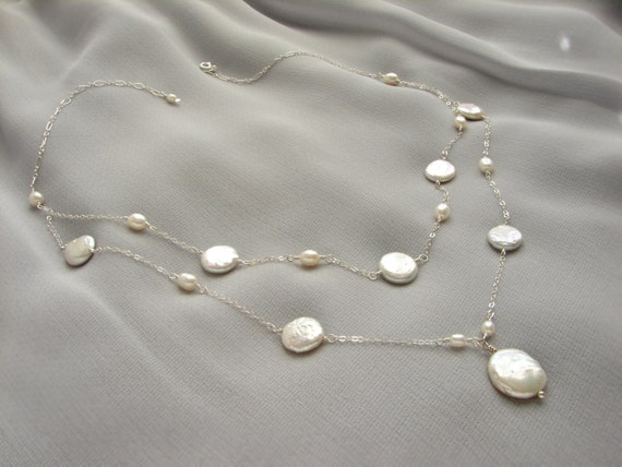 Bridal pearl necklace, statement necklace, double layer coin pearl necklace, bridal wedding necklace