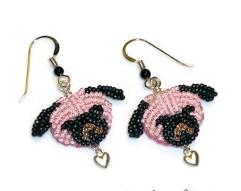 Pink PUG LOVE beaded sterling silver heart earrings (Ready to Ship)
