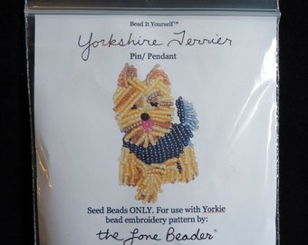 15/0 SEED BEADS ONLY for Beaded Yorkie Yorkshire Terrier Dog Pendant Animal Pin Beading Pattern