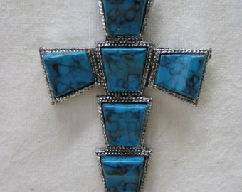 Cross Turquoise Silver Necklace Pendant Christian Southwest